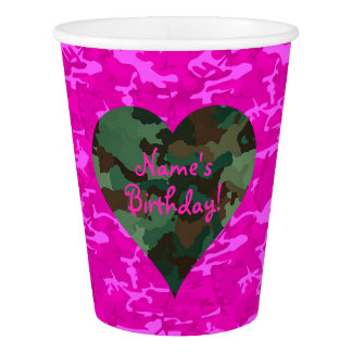 Personalize - Pink Camo Paper Cup