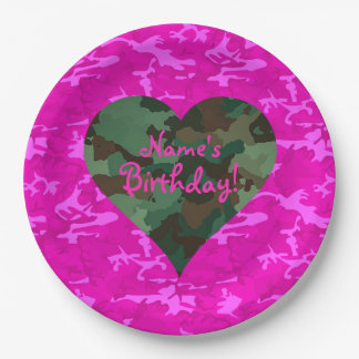 Personalize - Pink Camo Paper Plate