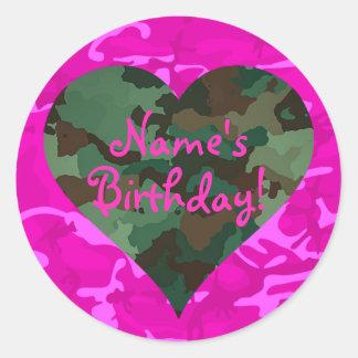 Personalize - Pink Camo Round Sticker