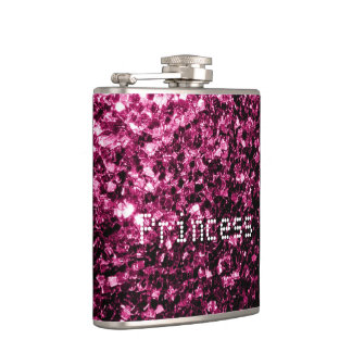 Personalize Pink glitter sparkles Princess Hip Flask