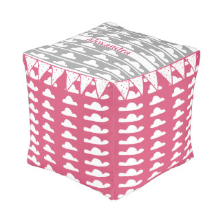 Personalize Pink Grey Cloud Vintage Modern Pattern Pouf