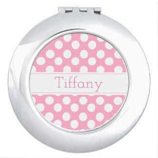 Personalize Pink Polka Dot Compact Mirror