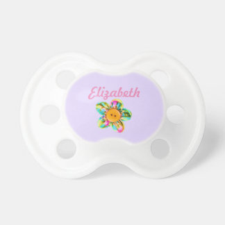 Personalize, Pink, purple, yellow flowers on pink Baby Pacifiers