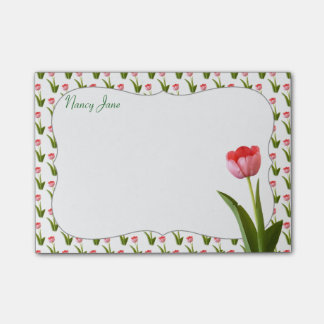 Personalize - Pink Spring Tulip Floral Photo Post-it® Notes
