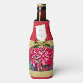 Personalize:  Poinsettia Christmas Picture Bottle Cooler