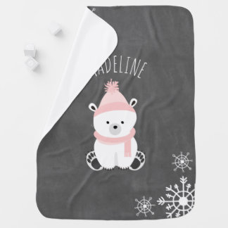 Personalize Polar Bear Baby Blanket - Pink