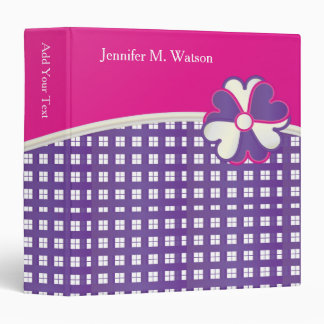 Personalize Popular Pink, White and Purple Weave Binder