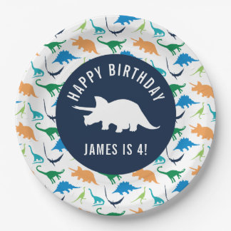 Personalize Preppy Dinosaur Birthday Party Plate 9 Inch Paper Plate
