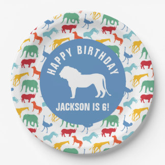 Personalize Preppy Lion Safari Animal Birthday 9 Inch Paper Plate