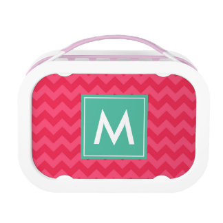 Personalize Preppy Pink Chevron Monogram Lunch Boxes