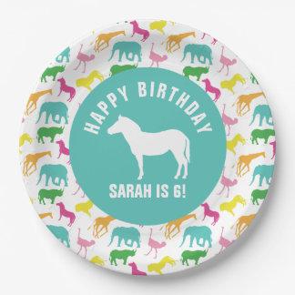 Personalize Preppy Zebra Safari Animal Birthday 9 Inch Paper Plate