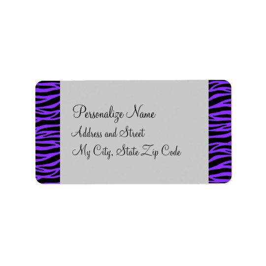 Personalize Purple and Black Zebra Label