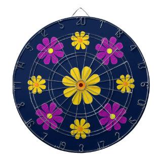 Personalize, purple yellow flowers on dark blue dartboard with darts