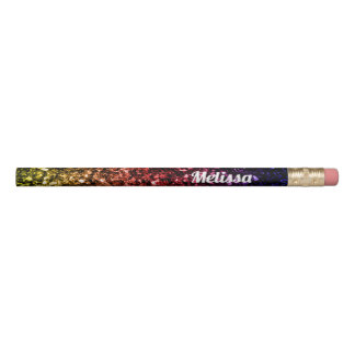Personalize Rainbow yellow red purple sparkles Pencil