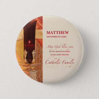 Personalize, RCIA Congratulations, Catholic, Red 2 Inch Round Button