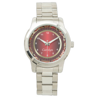 Personalize Red and Gold Abstract Design Watch