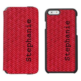 Personalize:  Red Faux Basket Weave Pattern Incipio Watson™ iPhone 6 Wallet Case