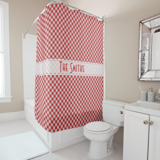 Personalize:  Red Gingham Check Diagonal Pattern