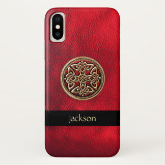 Personalize Red Leather Celtic Knot iPhone X Case