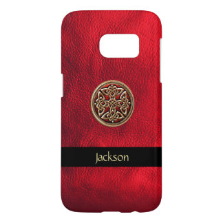 Personalize Red Leather Look Celtic Knot Samsung Galaxy S7 Case