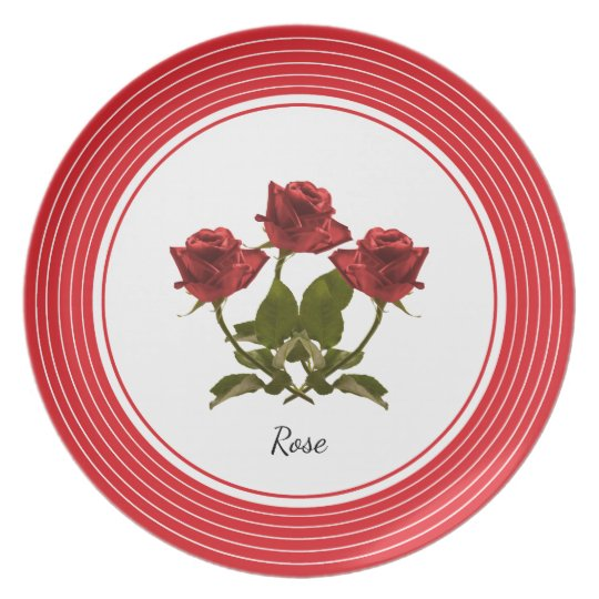 Personalize:  Red Rose Floral Photography Plate