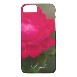 Personalize Red Rose in Bloom with Morning Dew iPhone 7 Case