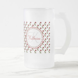 Personalize:  Red Rose Pattern Floral Photography Frosted Glass Beer Mug