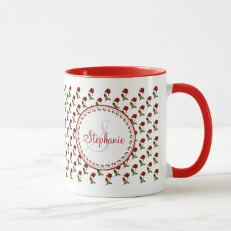 Personalize:  Red Rose Pattern Floral Photography Mug