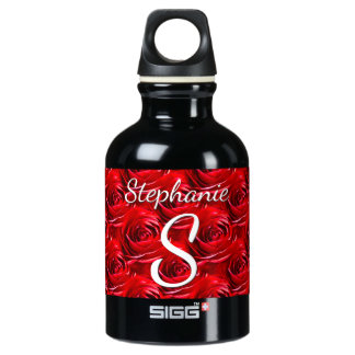 Personalize: Red Rose Pattern - Floral Photography Water Bottle