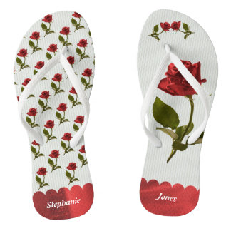Personalize: Red Roses Floral Photography Pattern Flip Flops