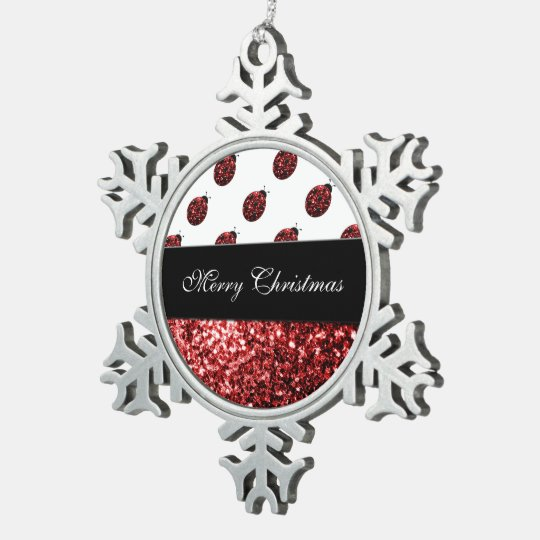 Personalize red sparkles Ladybird Ladybug Pewter Snowflake Ornament