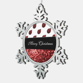 Personalize red sparkles Ladybird Ladybug Snowflake Pewter Christmas Ornament