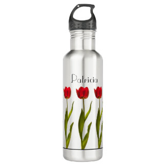 Personalize:  Red Tulip Floral Photography 24 oz 710 Ml Water Bottle