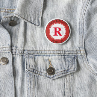 Personalize: Red/White Bold Initial and Age 2 Inch Round Button