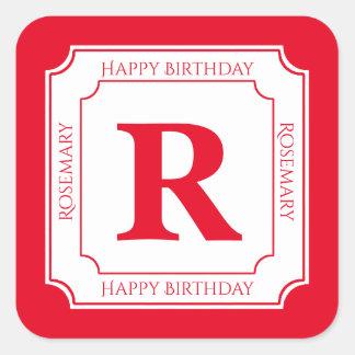 Personalize: Red/White Bold Initials Birthday Square Sticker
