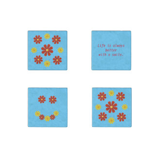 Personalize, red yellow smille flowers stone magnets