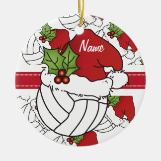 Personalize Santa Hat Christmas Volleyball Round Ceramic Ornament
