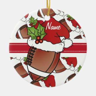 Personalize Santa's Hat Christmas Football Round Ceramic Ornament