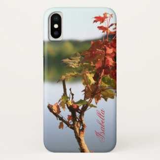 Personalize Serene Autumn scenery tree and lake iPhone X Case