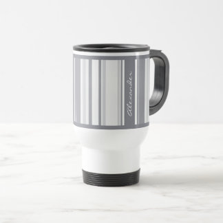 Personalize:  Shades of Gray Stripes Pattern Travel Mug