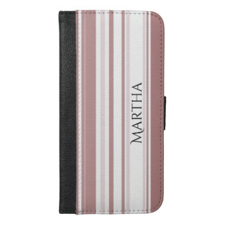 Personalize Shades of Marsala Striped Pattern iPhone 6/6s Plus Wallet Case