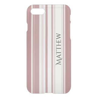 Personalize:  Shades of Marsala Striped Pattern iPhone 7 Case