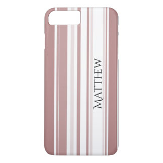 Personalize Shades of Marsala Striped Pattern iPhone 7 Plus Case