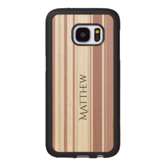Personalize Shades of Marsala Striped Pattern Wood Samsung Galaxy S7 Case