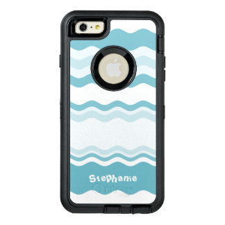 Personalize:  Shades of Turquoise Waves Pattern OtterBox iPhone 6/6s Plus Case