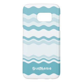 Personalize:  Shades of Turquoise Waves Pattern Samsung Galaxy S7 Case