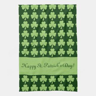 Personalize Shamrock Polka dots St. Patrick's Day Kitchen Towel