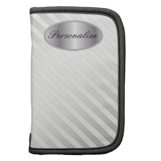 Personalize Silver Diagonal Stripes Organizer