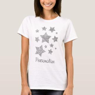 Personalize Silver glitter sparkles Stars T-Shirt
