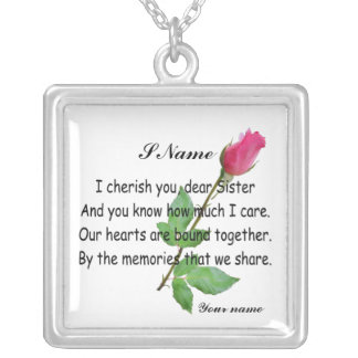 PERSONALIZE SISTER -NECKLESS SILVER PLATED NECKLACE